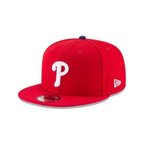 New Era Men Philadelphia Phillies Basic 9FIFTY Snapback Hat Cap Red White
