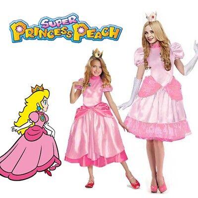 Deluxe Womens Girl's Princess Peach Fancy Dress Costume Ladies Super Mario - Girls Mario Kostüm