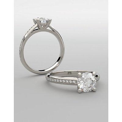 GIA 1.50 carat center Round Diamond Engagement 14k White Gold Ring F VS1 1.63 ct 2