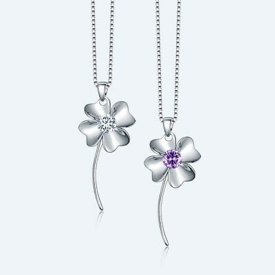 Sterling Silver Four Leaf Clover Amethyst CZ Pendant Necklace Chain Gift Box (Silver Four Leaf)