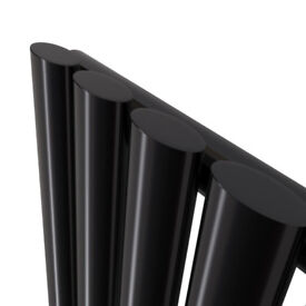 VERTICAL BLACK GLOSS SINGLE 4 PANEL OVAL RADIATOR