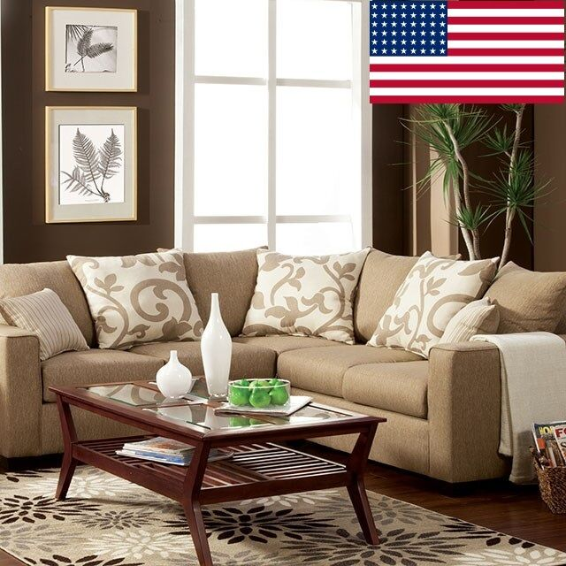 Contemporary Warmth & Comfort Beige Fabric & Contrast Pillow Sectional Sofa Set