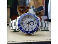 Silver Rolex Yachtmaster II Blue Bezel White Face Comes Rolex Boxed with Paperwork