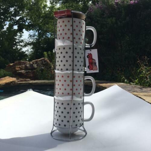 Sheffield Home 4 Stackable Stars Coffee Mugs w/holder set red white blue New