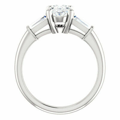 Lovely 1.40 Ct Oval Cut & Baguette 3 Stone Diamond Engagement Ring J VS2 GIA 14K 1