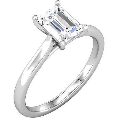 GIA 1 carat  Emerald Cut Diamond Engagement 14k White Gold Ring E SI2 #602