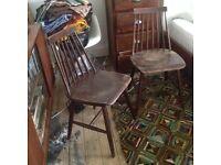 Ercol Style Kitchen Dining Chair x 2 Mid Century scandinavian Eames Era Danish
