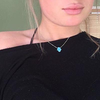 Opal Hamsa Necklace Light Blue 14