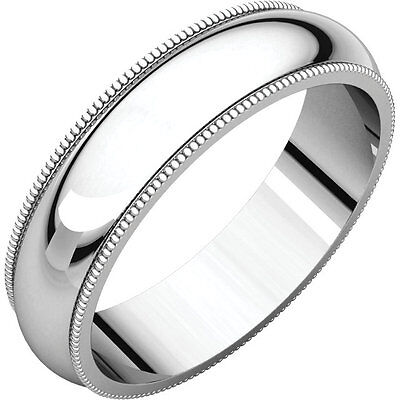 5mm 14K Solid White Gold Milgrain Comfort Fit Heavy Wedding Band Ring Size 10