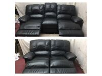 Black leather 3/2 Seater manual recliner sofas good condition