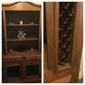 Solid wood table & chairs with matching unit