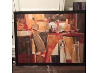 IKEA HALLARYD LARGE OIL PAINTING CANVAS BY TREMLER IN BLACK WOODEN FRAME