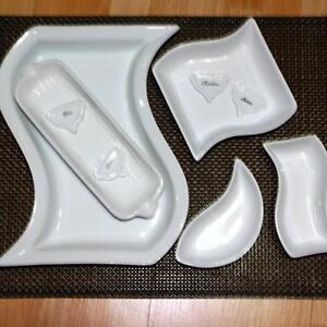 WHITE SERVING DISHES AND CHEESE MARKERS (3 SETS TOTAL 11 PIECES)