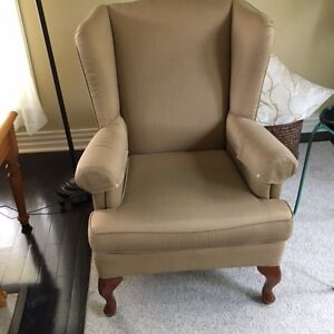 2 Natural color wingback chairs !