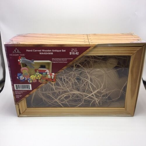 Holiday Time Hand Carved Wooden Antique Set WA4554WM (Open Box)