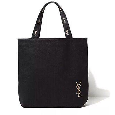 Yves Saint Laurent YSL Black Canvas Shopper Bag Eco Tote Bag New USA Seller