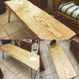Handmade Ash Wooden Coffee Table Hairpin Legs
