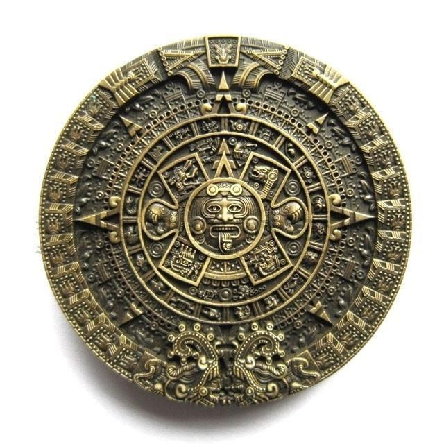 Bronze Aztec Mayan Calendar Metal Fashion Belt Buckle