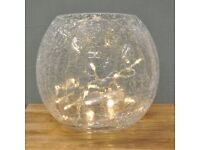 Large Crackle Glass Bowl With 20 LED Battery Operated String Lights Lamp NEW