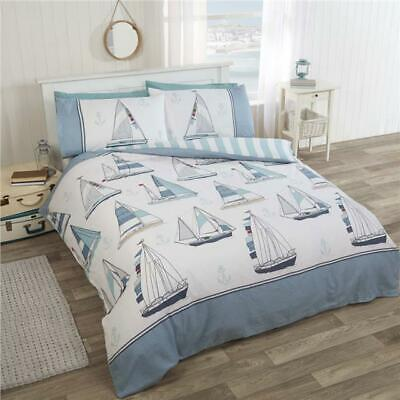 Nautical ship duvet cover sets with blue sailing boats & yachts bedding