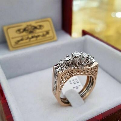 Luxury Round Cut White Sapphire CZ Rose Gold Ring Women Engagement Jewelry Gifts - Gold Round Cut Jewelry