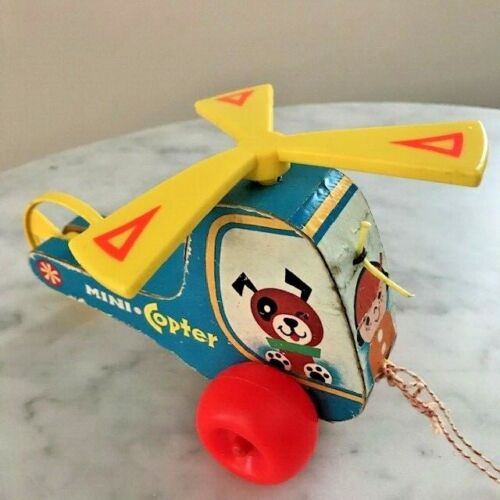 Vintage 1970 Fisher Price Mini Copter #448 Wooden Helicopter Pull Toy USA