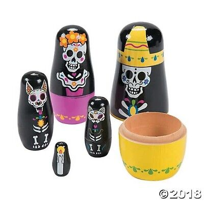 Day of the Dead NESTING DOLLS sugar skull Party Dia Muertos HALLOWEEN TOY - Halloween Party Day