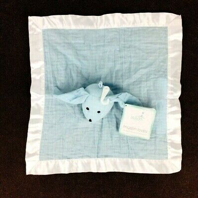 "Aden Anais Baby Blanket Muslin Lovey Blue Bunny Rabbit Satin Trim 15"" NEW"