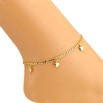 """Heart Women Ankle Bracelet Barefoot Sandal Beach Foot Jewelry 14k Gold 8""""+2'inch"""