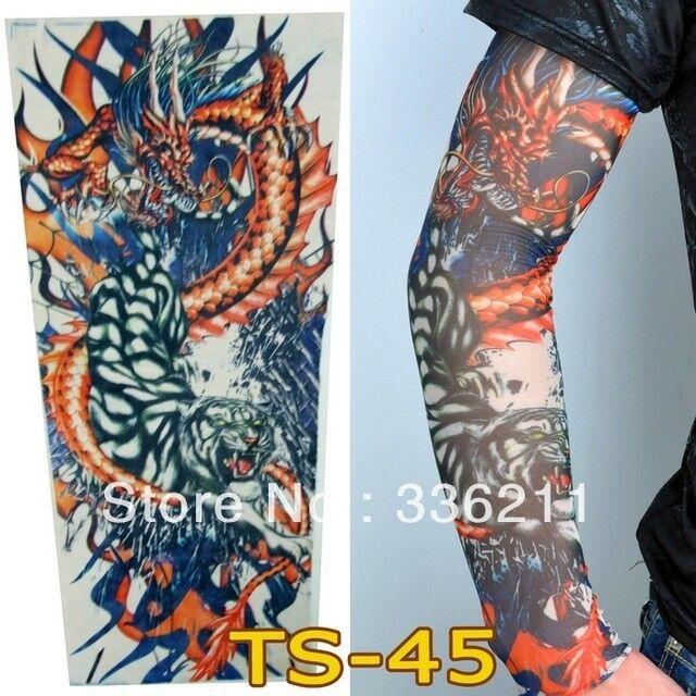 Japanese Dragon Lotus Fake Full Arm Leg Sleeve Tattoo
