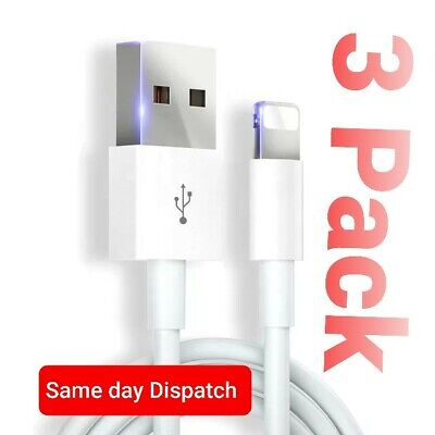 3 Pack Genuine Apple iPhone 11 8 7 6 5 X S Plus+ Charger Cable iPad 1m Lightning