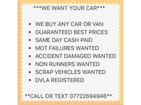 Scrap cars wanted top prices paid spares repair