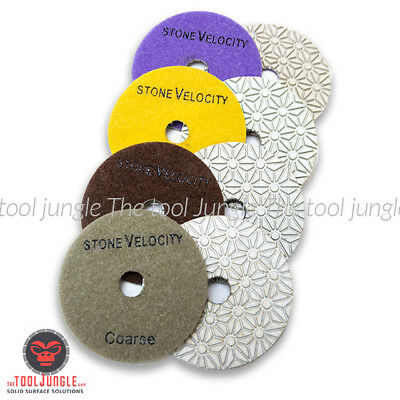 Diamond Polishing Pads 4 Inch Wetdry 4 Step Set With Added Coarse Pad