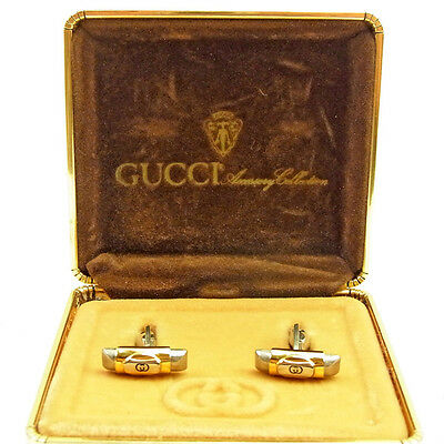 GUCCI Cufflinks Interlocking Mens Authentic Used L1518