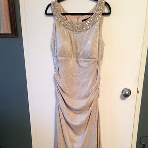 Stunning soft ivory gold dress / evening gown