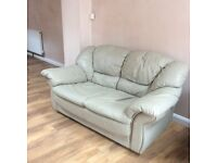 Two Seater Sofa Pale Green Leather