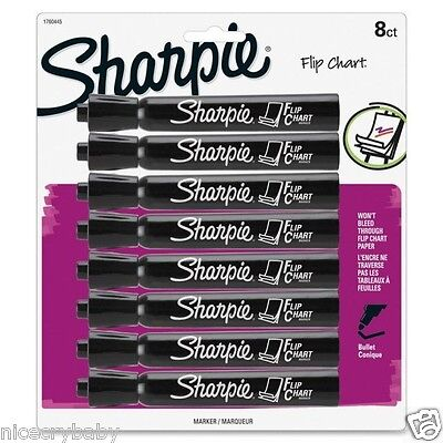New 8 Pack Sharpie Flip Chart Marker Bullet Tip Black San1760445 Low Odor Deal