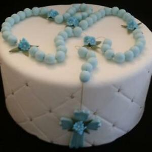 FIRST COMMUNION CAKE TOPPER/KEEPSAKE BLUE COLD PORCELAIN ROSARY