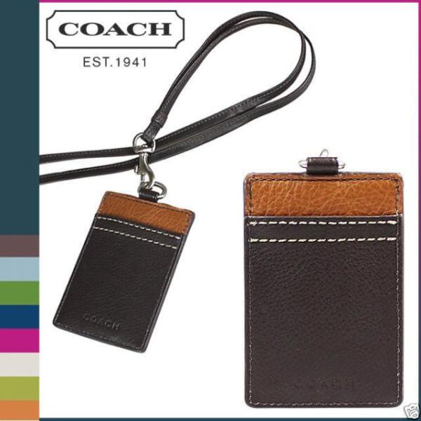 COACH HERITAGE WEB LEATHER ID HOLDER LANYARD