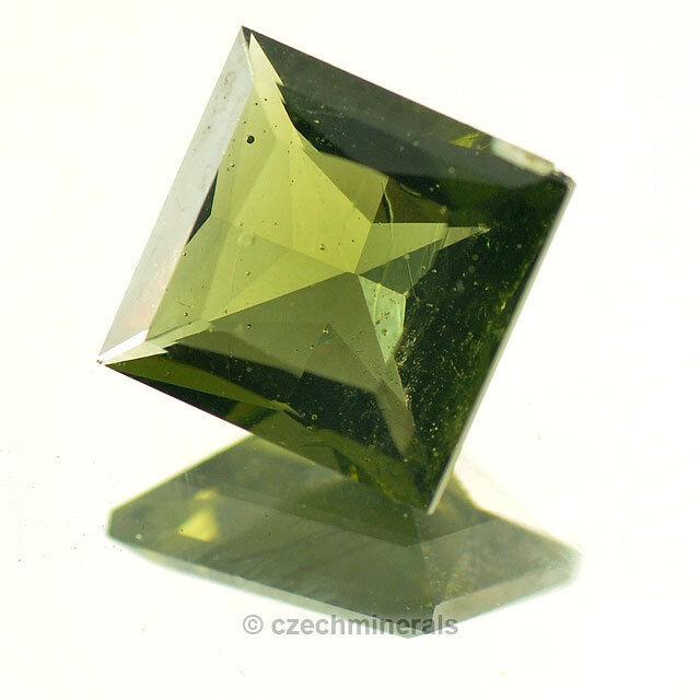 1.98cts square princess cut 8mm moldavite faceted cutted gem BRUS688