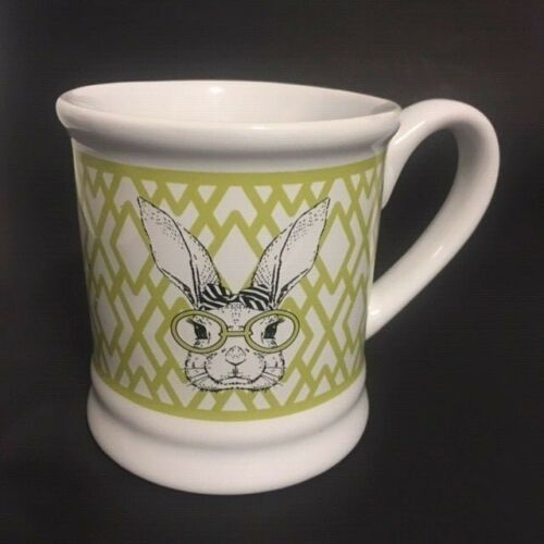 Bunny Nerd Mug with Eyeglasses and Hair Bow Lime Green on Cream  GR2