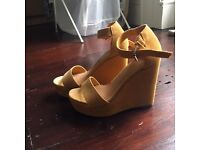 Urban Outfitters/Deena & Ozzy Lana Wedges Yellow (Never Worn)