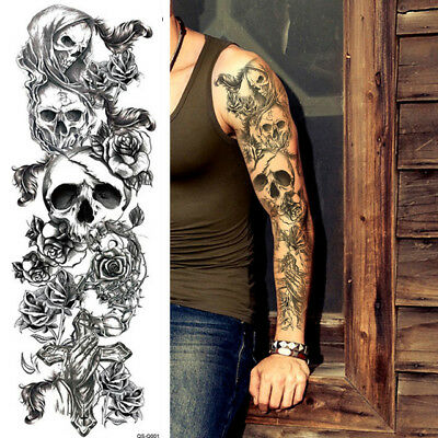 SKULLS ROSES TEMPORARY TATTOOS SLEEVE FOR WOMEN MEN FULL ARM ADULT HALLOWEEN UK (Temporary Tattoos For Halloween)
