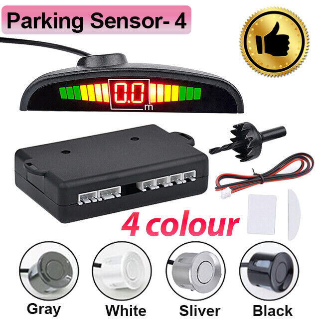 4 Sensors Parking Sensor Car Reverse with LCD Display Audio Buzzer Alarm Black