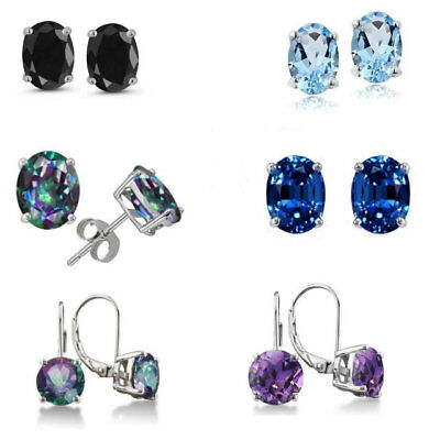 (6 Pairs Rainbow CZ Stainless Steel 6MM Stud Earring Set Oval Round Earrings Set)