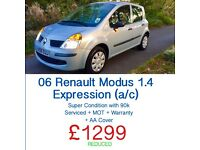 SUPERB!!!! RENAULT MODUS 1.4 EXPRESSION + FREE WARRANTY + SERVICED + MOT + AA COVER