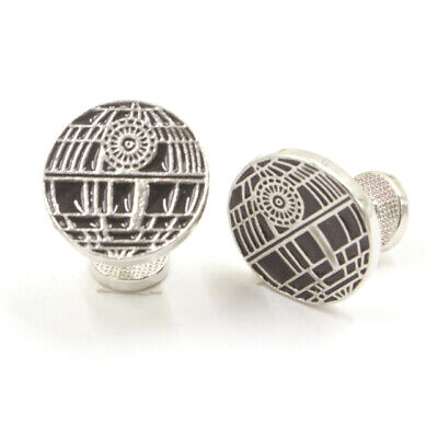 Cufflinks Novelty * Movies, Games, TV * Star Wars Death Star Flat Cuff Stud