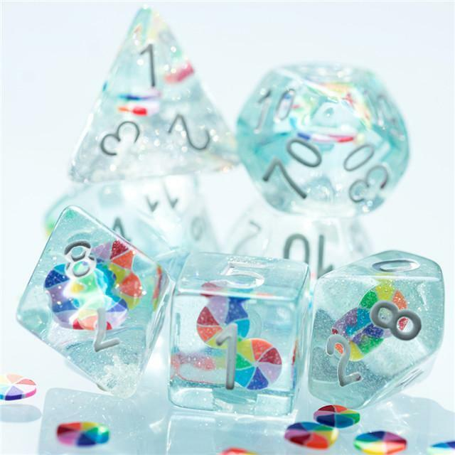 Fresh Dice: Colorful Wheel Resin Filled 7-Dice Set