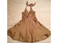 Gold halterneck flared skirt dress from Coast, size 12, worn once