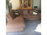 Brown, soft 4/5 seater (Cargo) corner sofa